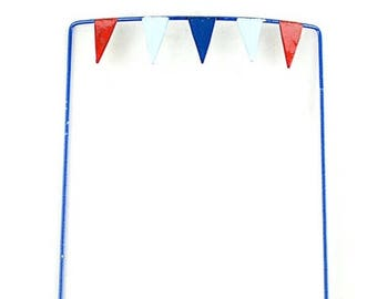 20% OFF STOREWIDE Miniature 4th of July Flag Banner, Fairy Garden Pennant Flags Set in Red, White, and Blue