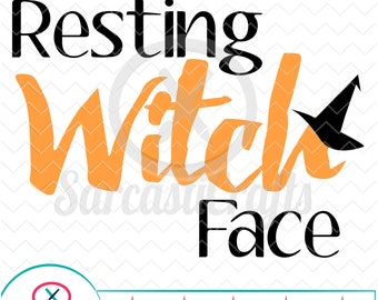 Resting Witch Face - Halloween Graphic - Digital download - svg - eps - png - dxf - Cricut - Cameo - Files for cutting machines
