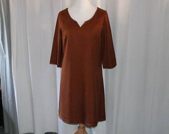Dress 3/4 sleeves Brown trapezoid