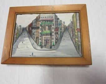 Small PARIS Impressionism oil PAINTING vintage hand painted original c1960s  art home decor cityscape landscape