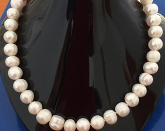 """Real Genuine Pearl Necklace: Huge 11mm Real Genuine White Freshwater  43.5cm 17"""" inch Pearl Necklace"""
