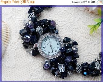 Sale Jewelry watch Wrist watch Woman watch Bracelet watch Blue watch Beaded watch Ladies watch Designed watch Mother's day gift Woman's day