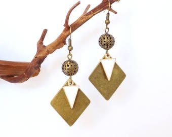 Bronze Rhomb Earrings White Enamel Golden Triangle