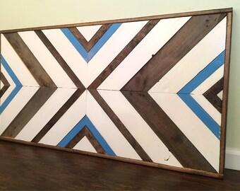 Reclaimed wood mosaic - Wood wall decor - Geometric art - Reclaimed wall hanging - Wood wall art - Modern home decor