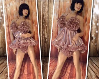 Prissy Sissy Maid High Shine Silky Soft Satin ~ Outrageous and Over The Top Enfemme Boutique ' FemBot' Dress Custom Fit (Made to Measure).