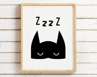 Superhero sleeping Print - 50% off Superhero Wall Print - Superhero Nursery Art - Superhero Printable Art - Superhero Wall Art - Superhero