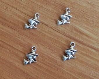 50pcs Witch Charms Witch Riding Broom 2 Sided Antique Silver Tone 10x15mm cf0360