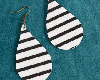 Black  and White Striped Leather Earrings // Leather Teardrop Earrings // Leafy Treetop Leather
