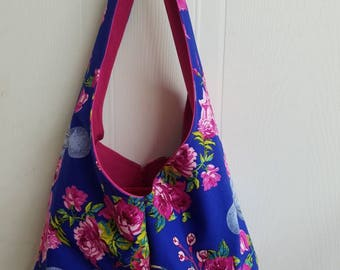 Octopus - floral  - rose - roses -  nautical  - rockabilly  - Retro - kitschy  - funky - lined - hobo - bag - purse - tote