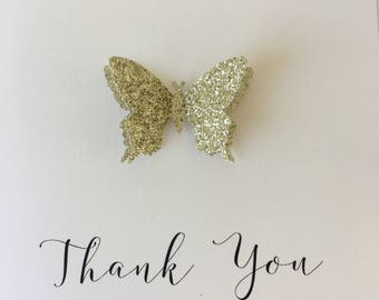 Sparkly Gold  Butterfly - Handmade Thank You card - Set of 6