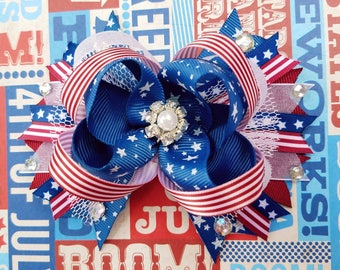 American Cutie Stars Stripes OTT Hair Bow Pearl