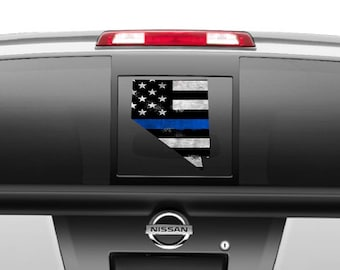 Support the Police Officers- Nevada State US Flag Blue Strip black and white Decal different sizes