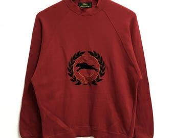 RARE!!!! Longchamp Paris Big Logo Embroidery Crew Neck Red Colour Sweatshirts Hip Hop Swag M Size