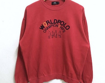 RARE!!! World Polo Championships Big Logo Embroidery SpellOut Crew Neck Red Colour Sweatshirts Hip Hop Swag L Size