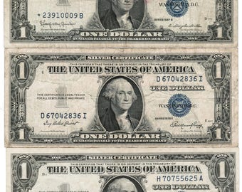 12 Silver Certificate One Dollar Bills Dated 1935 and 1957