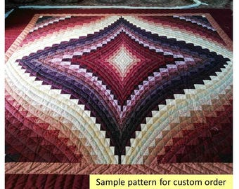 Bargello Diamond Quilts, Queen/King Size Quilt, Amish Quilt, Patchwork Quilt, Traditional Country Quilt, Purple/Beige Quilt, Hand Made Quilt