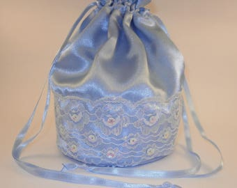 Blue Satin Iridescent White Lace & Sequins Dolly Bag / Handbag Bride Communion Christening Wedding Bridesmaid
