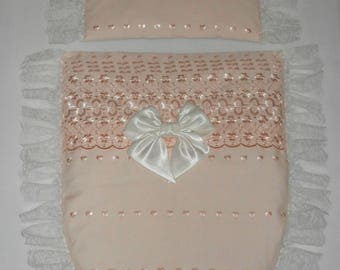 Peach Broderie Anglais & Ivory Lace with Satin Bow Moses Basket or Pram Baby Pram Stroller Quilt Set