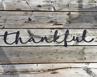 Thankful script metal wall sign
