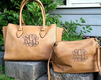 Monogram 2pc purse in Tan Personalized handbags- The Kelly