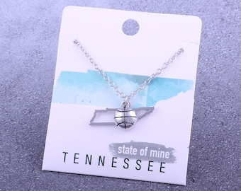 Customizable! State of Mine: Tennessee Basketball Silver Necklace - Great Basketball Gift!