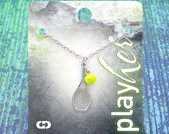 Customizable Tennis Racket Silver Necklace with Mini Tennis Ball - Personalize with Heart Charm or Letter Charm! Great Tennis Gift!