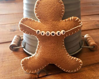 Personalized Gingerbread Man Ornament // Custom Christmas Ornament // Handmade Christmas Ornament
