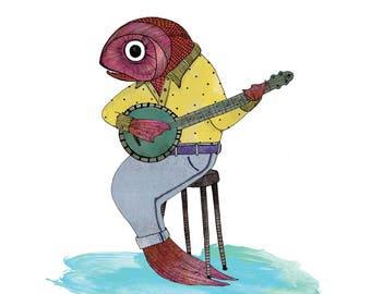 Fish and banjo music wall art print