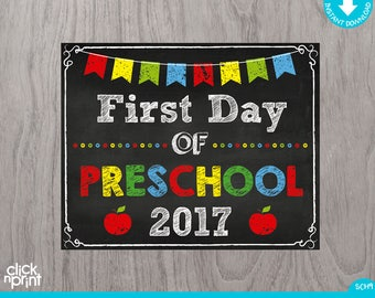 First Day of Preschool Sign Instant Download Print Yourself, First Day of Preschool Chalkboard Sign, Printable First Day Preschool Sign