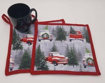 White Christmas Quilted Potholders With Loop - Set of 2 and Free Shipping!