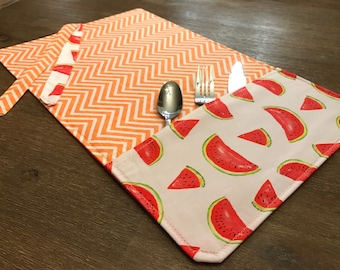Watermelon (WATERMELON) / placemat roll utenciles, portable place mat, for school, for work, placemat for lunchbox!