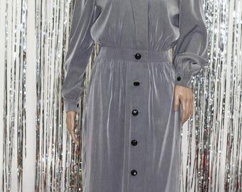 Grey Long Sleeve Shirt Dress 80's-90's Vintage Leslie Fay| Grey Dress (8)
