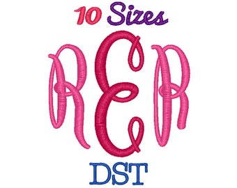 Oval Monogram Embroidery Font Machine Embroidery Fonts DST Format File Pack Set 10 Sizes Digital Design Instant Download