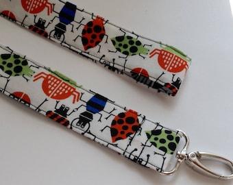Lanyard blue keychain key fob key ring  fabric keychain boys men's accessories-  bugs designer fabric