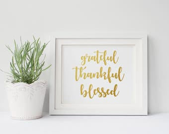 Grateful Thankful Blessed Sign - Housewarming Gift - Inspirational Quote - Entryway Decor - Grateful Sign - Living Room Wall Art