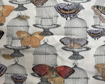 "Butterflies and bird cages - vintage look  2 yard 3"" of 44"" fabric Susan Winget"
