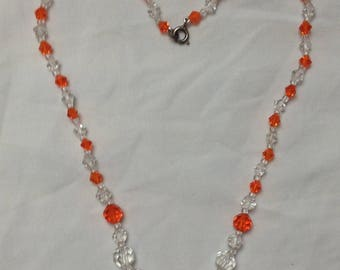 1930s to 1940s orange and clear crystal glass bead necklace 18 inch