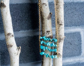 Long turquoise geme stone necklace / gold chain with turquoise stone necklace