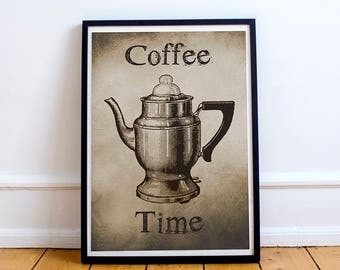 COFFEE WALL ART - Digital Print - Instant Download - Kitchen Wall Art - Printable Wall Art - Rustic Decor