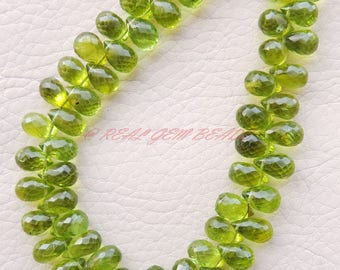 Natural Peridot Beads Peridot Faceted Teardrop Briolettes 8-10 MM Size Loose Gemstone Beads Peridot Drops Beads High Quality