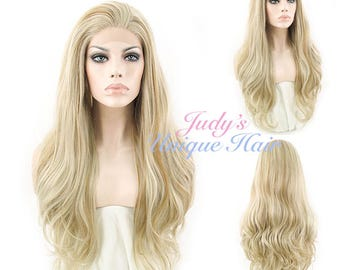 Long Curly Wavy Mixed Ash Blonde Lace Front Wig Heat Resistant
