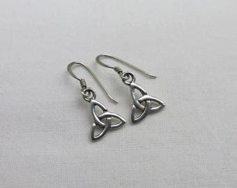 Silver celtic knot drop earrings
