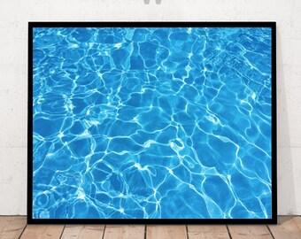 water print, blue water print, water decor, water photography, water poster, blue prints, minimalist water art, pool water, printable water