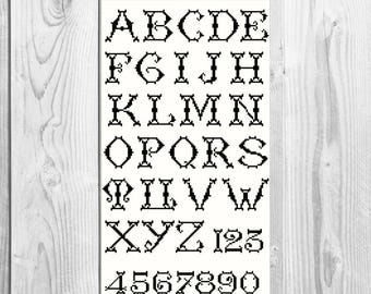 Alphabet stencils etsy monogram cross stitch pattern numbers cross stitch letters cross stitch alphabet cross stitch alphabet stencils personalized pronofoot35fo Images