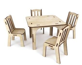Dollhouse table and four chairs, dollhouse chairs, Dollhouse table, four chairs, dollhouse miniature, miniature table and chairs
