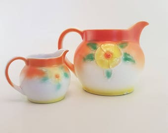 Czech Juice Pitcher and Creamer Pottery set | Vintage, Hand-Crafted,  Posy Flowers, Made in Czechoslovakia, matching set, rare, hand painted