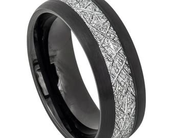 Free Engraving Tungsten Carbide Men's Black IP Plated Semi Doned with imitation Meteorite Inlay 8mm   Wedding Band   Promise Ring  