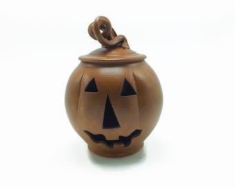 Pottery pumpkin, pottery jack-o-lantern, stoneware pumpkin, Halloween pumpkin, Orange pumpkin, stoneware jack-o-lantern, wheelthrown pumpkin