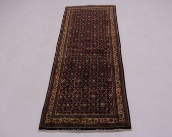 Plush All Over Runner Navy Mahal Hamedan Persian Oriental Area Rug Carpet 3X9