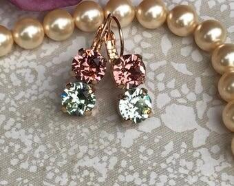 Swarovski crystal double dangle earrings in antique silver